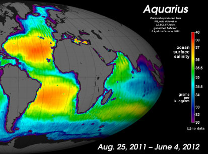 Nine-month average composite global image of sea surface salinity