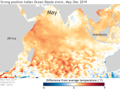 Sea surface temperature departures from average across the Indian Ocean
