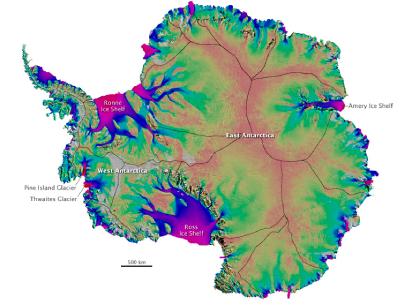 Color-coded map of ice velocities in Antarctica
