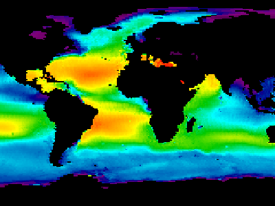 Composite image of sea surface salinity