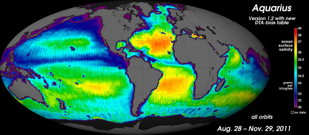 Three-month average composite global image of sea surface salinity