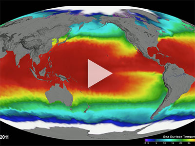 Global map of sea surface temperature