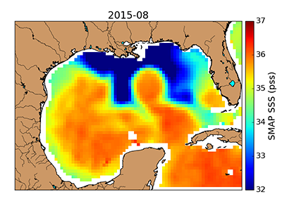 Map of sea surface salinity during a 2015 flooding event in the Gulf of Mexico