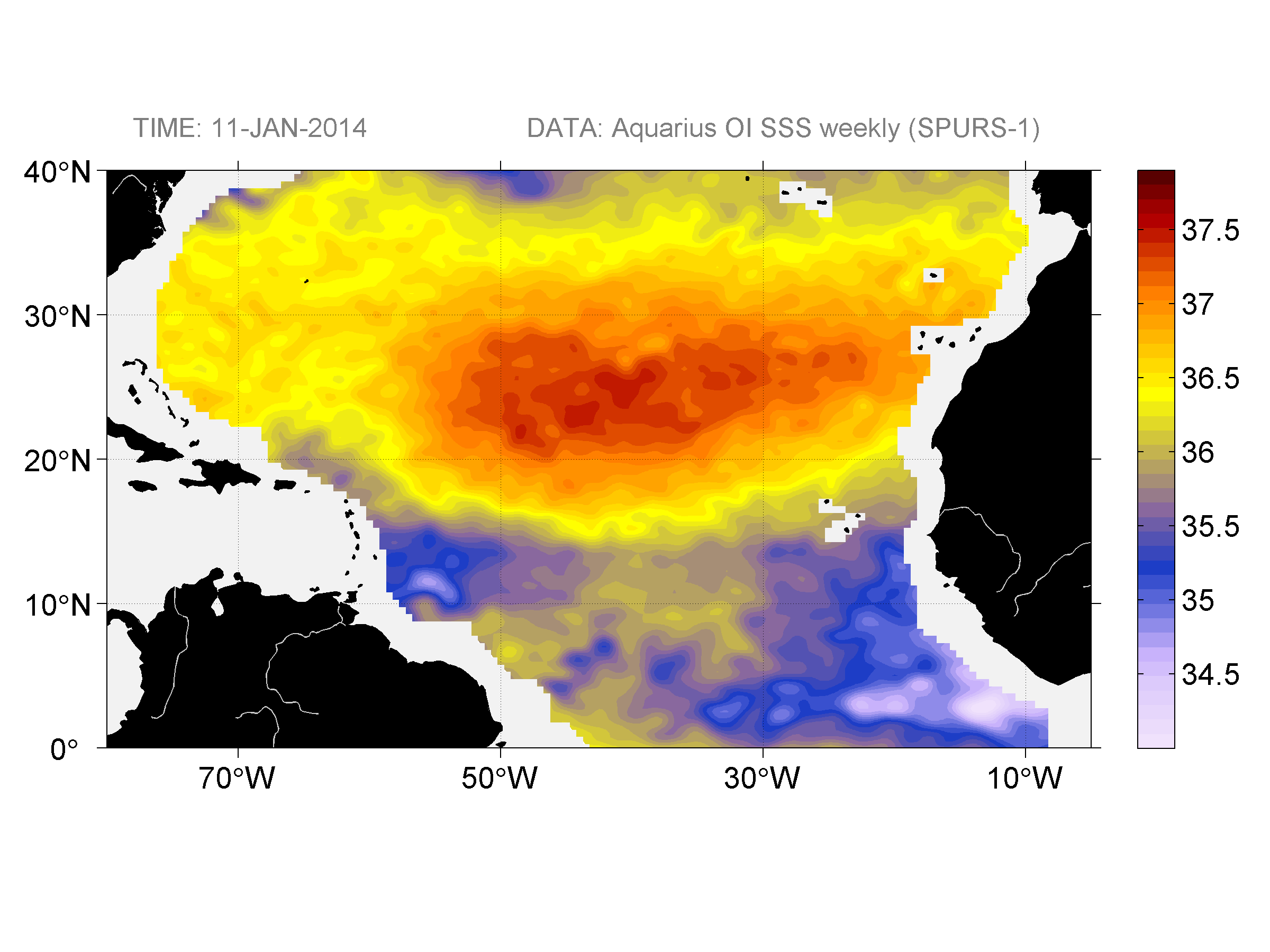 Sea surface salinity, January 11, 2014