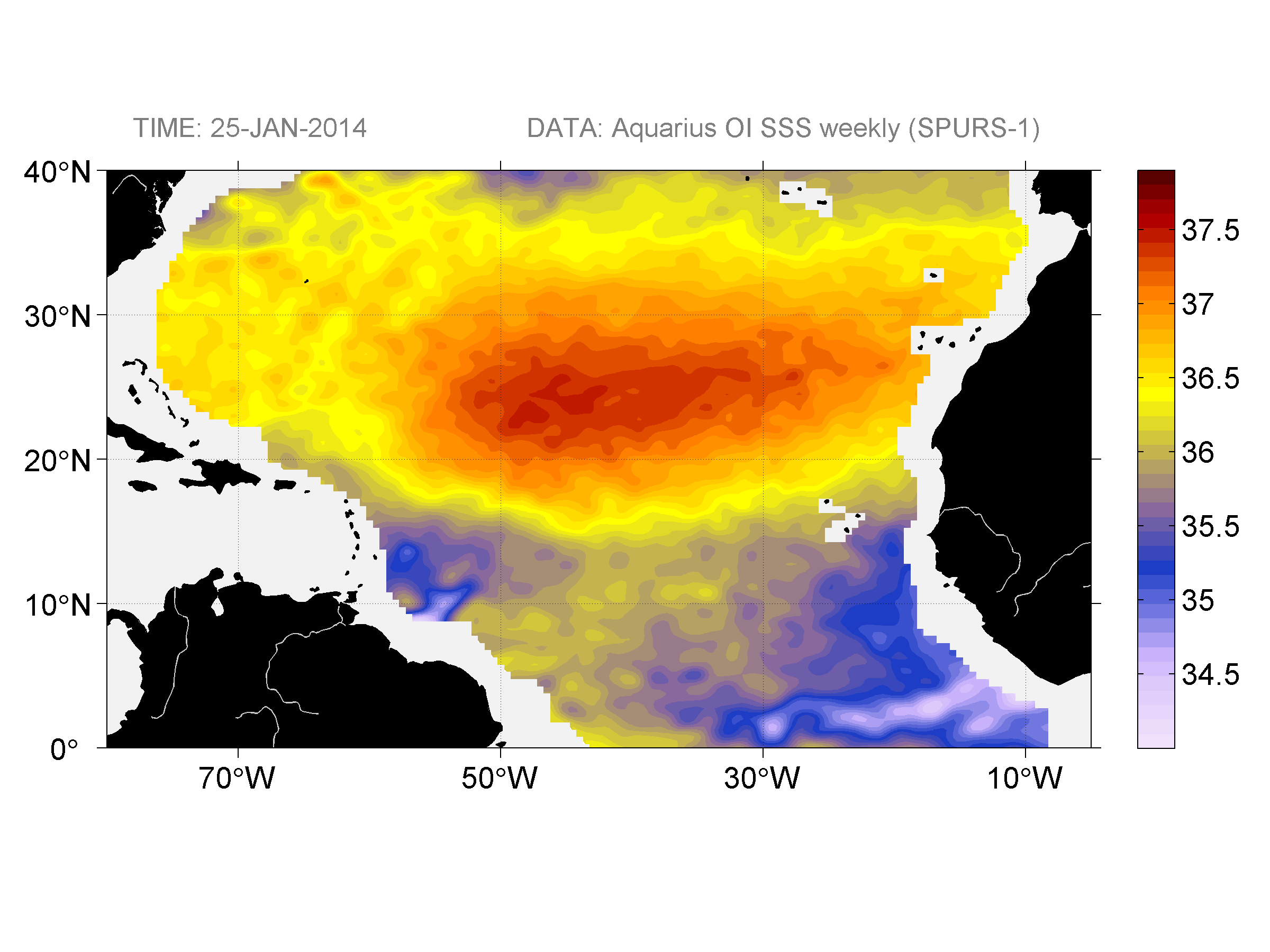 Sea surface salinity, January 25, 2014