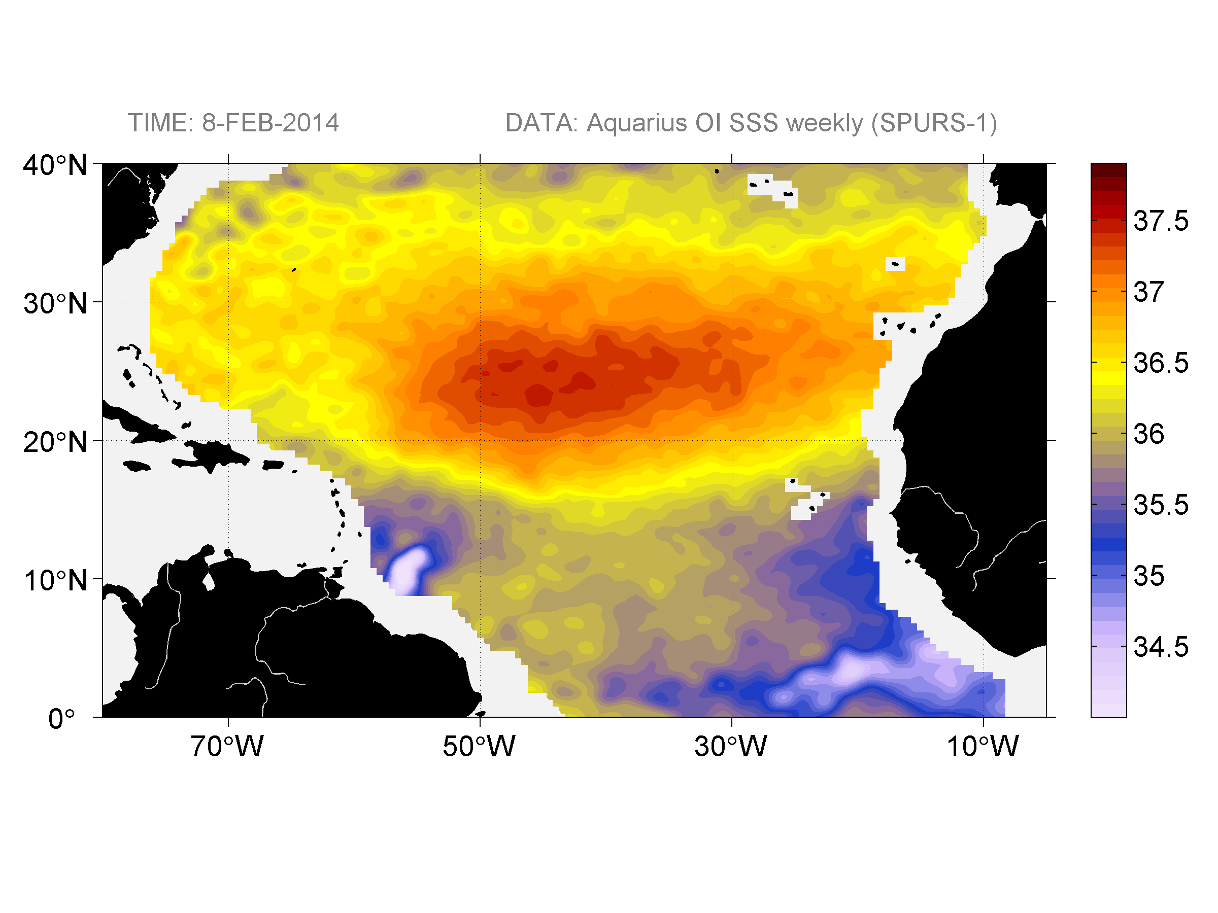Sea surface salinity, February 8, 2014
