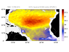 Sea surface salinity, February 15, 2014