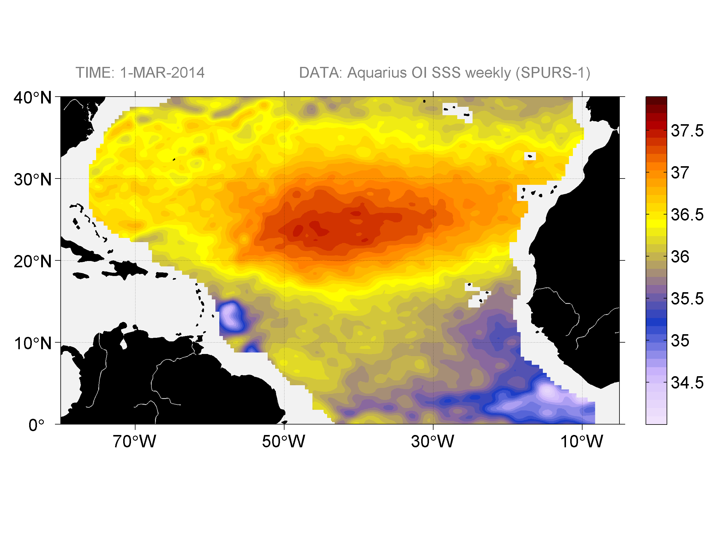 Sea surface salinity, March 1, 2014