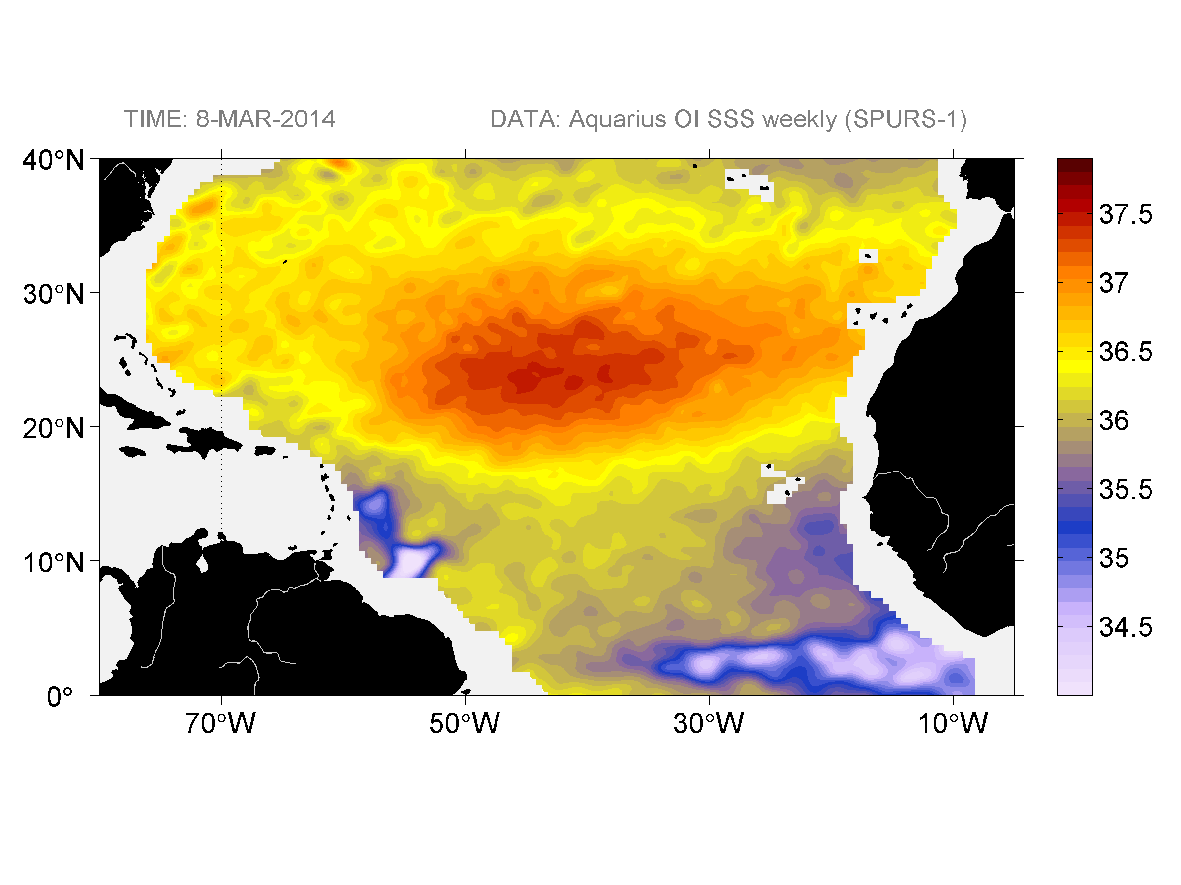 Sea surface salinity, March 8, 2014