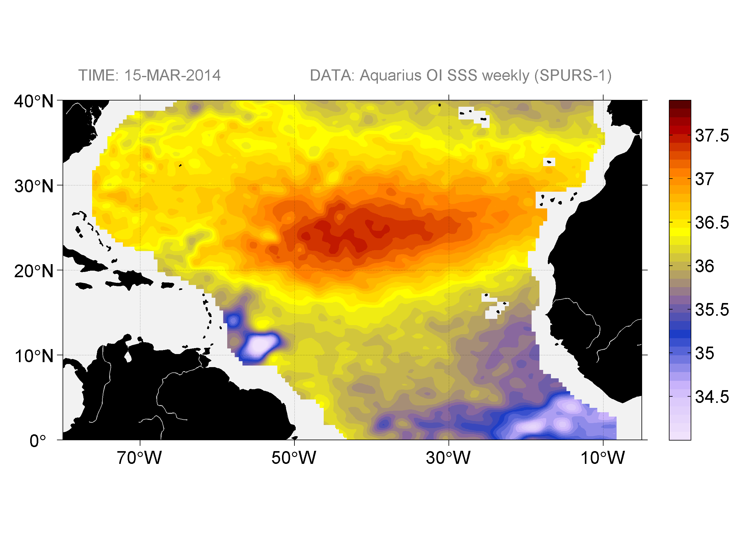 Sea surface salinity, March 15, 2014