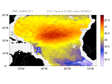 Sea surface salinity, March 29, 2014