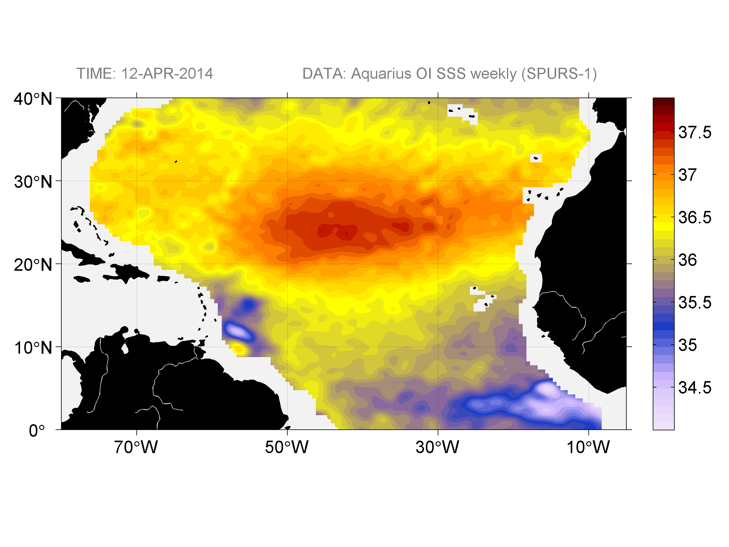 Sea surface salinity, April 12, 2014