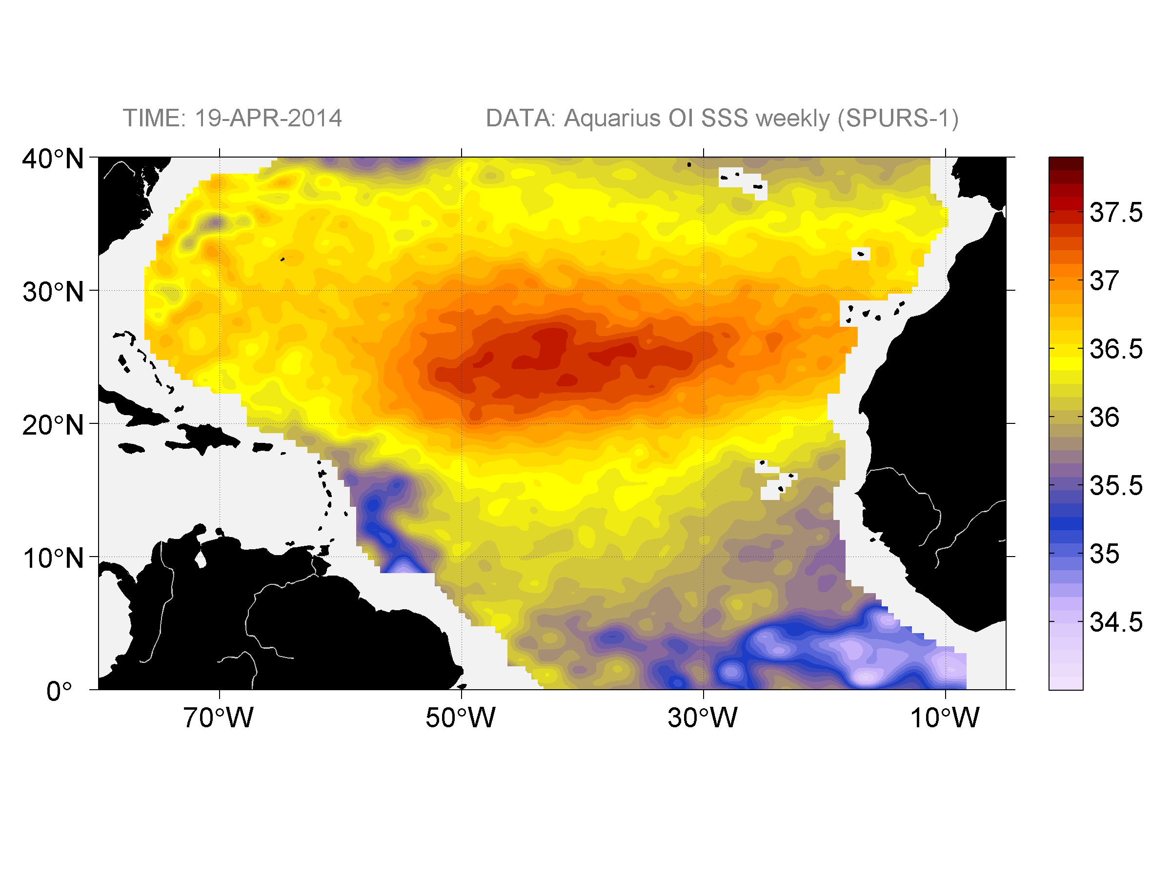 Sea surface salinity, April 19, 2014