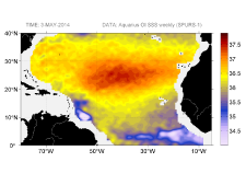 Sea surface salinity, May 3, 2014