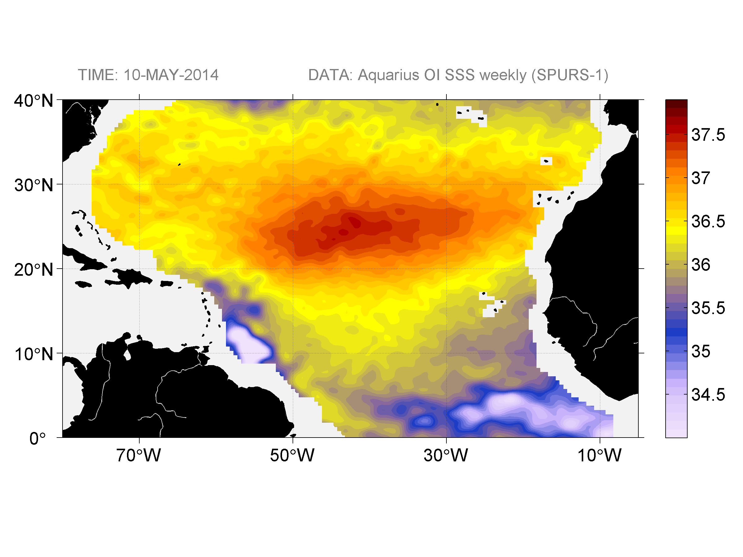 Sea surface salinity, May 10, 2014