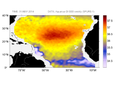 Sea surface salinity, May 31, 2014