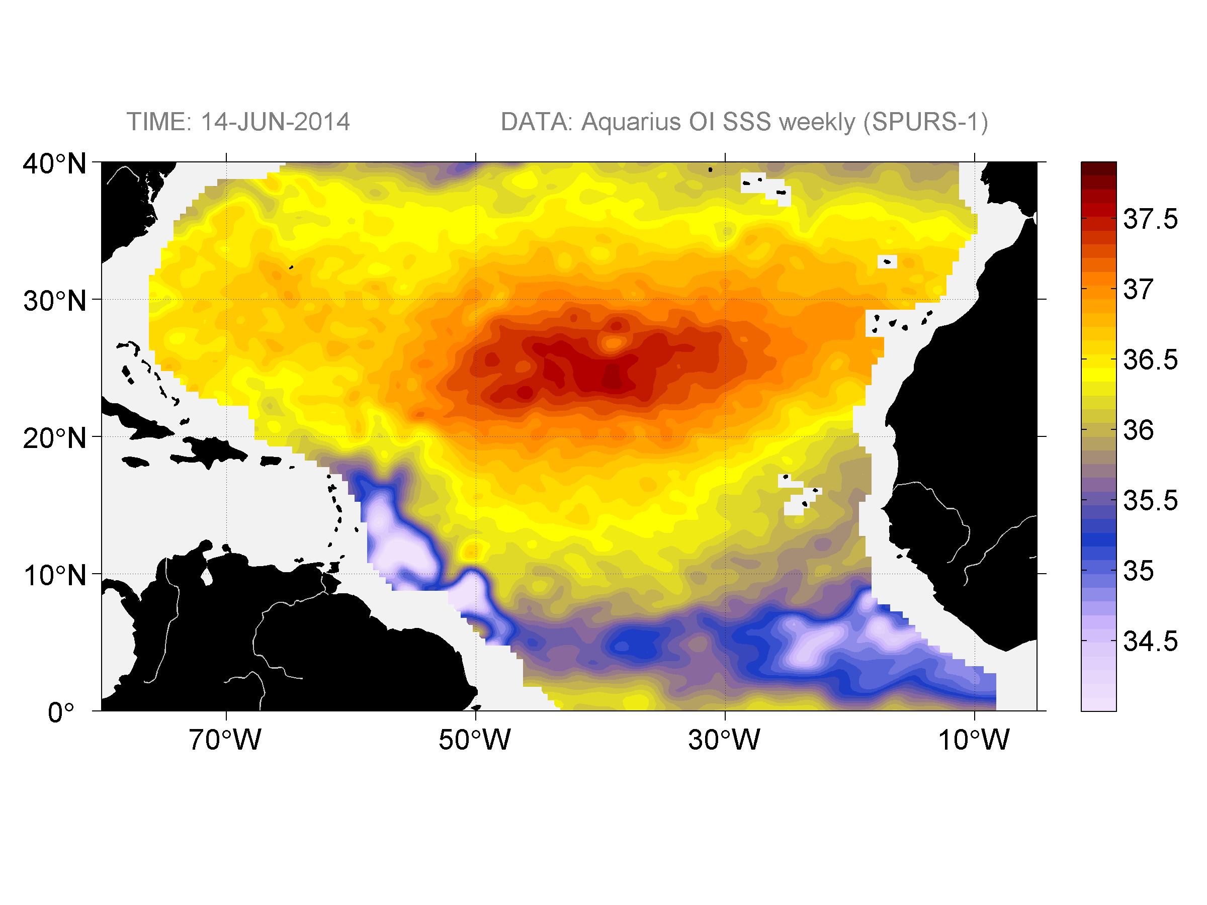 Sea surface salinity, June 14, 2014