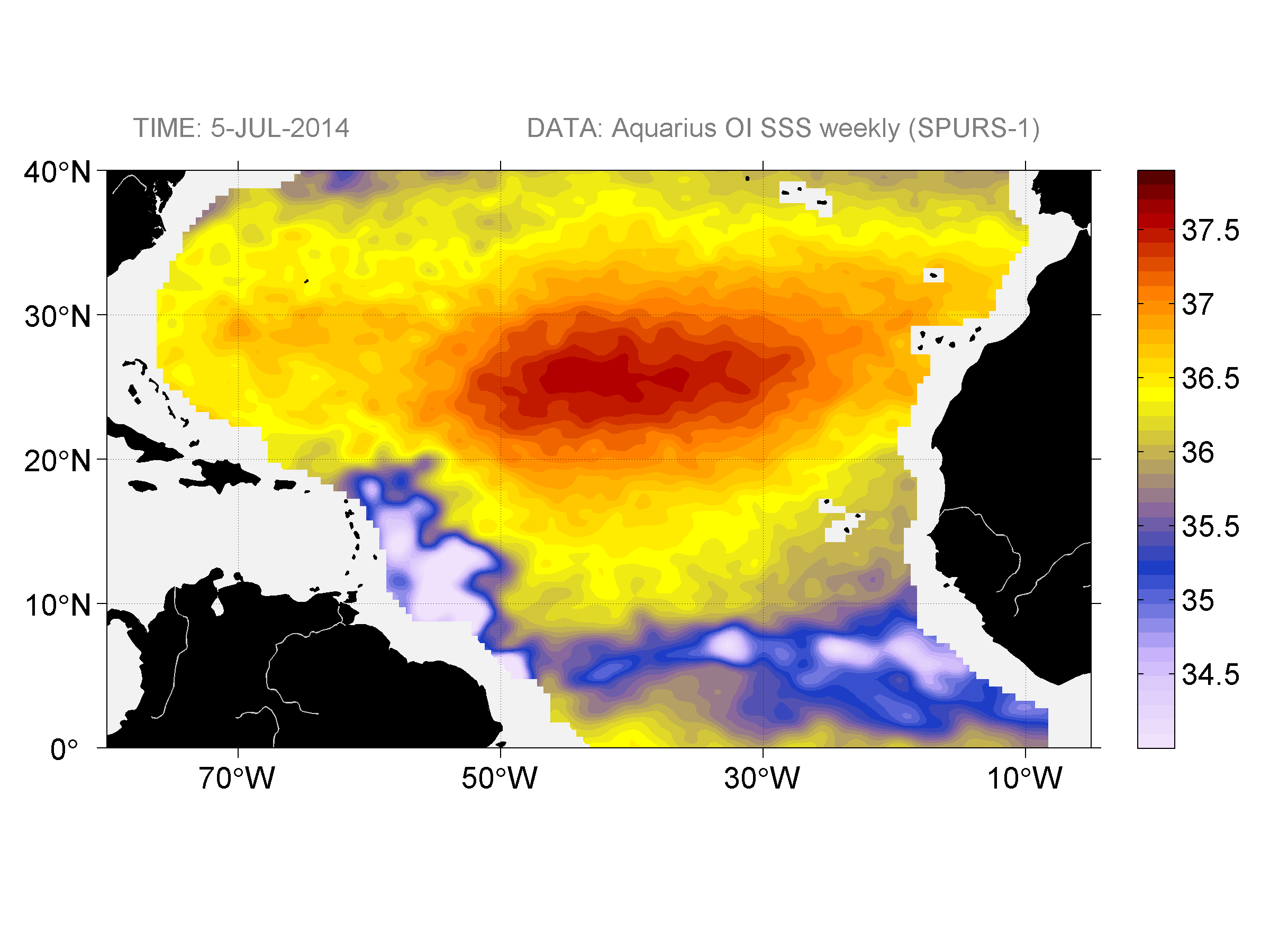 Sea surface salinity, July 5, 2014
