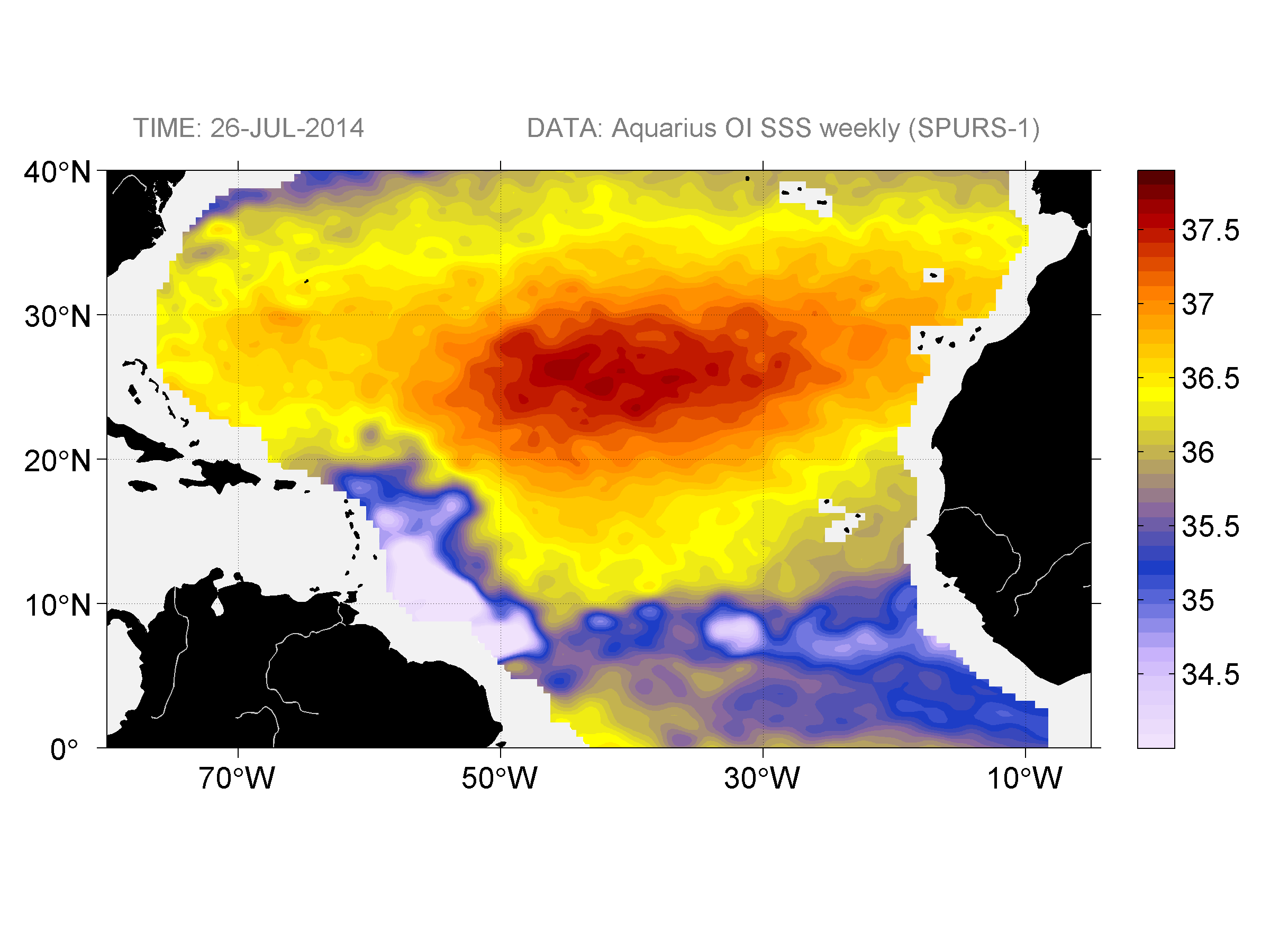 Sea surface salinity, July 26, 2014