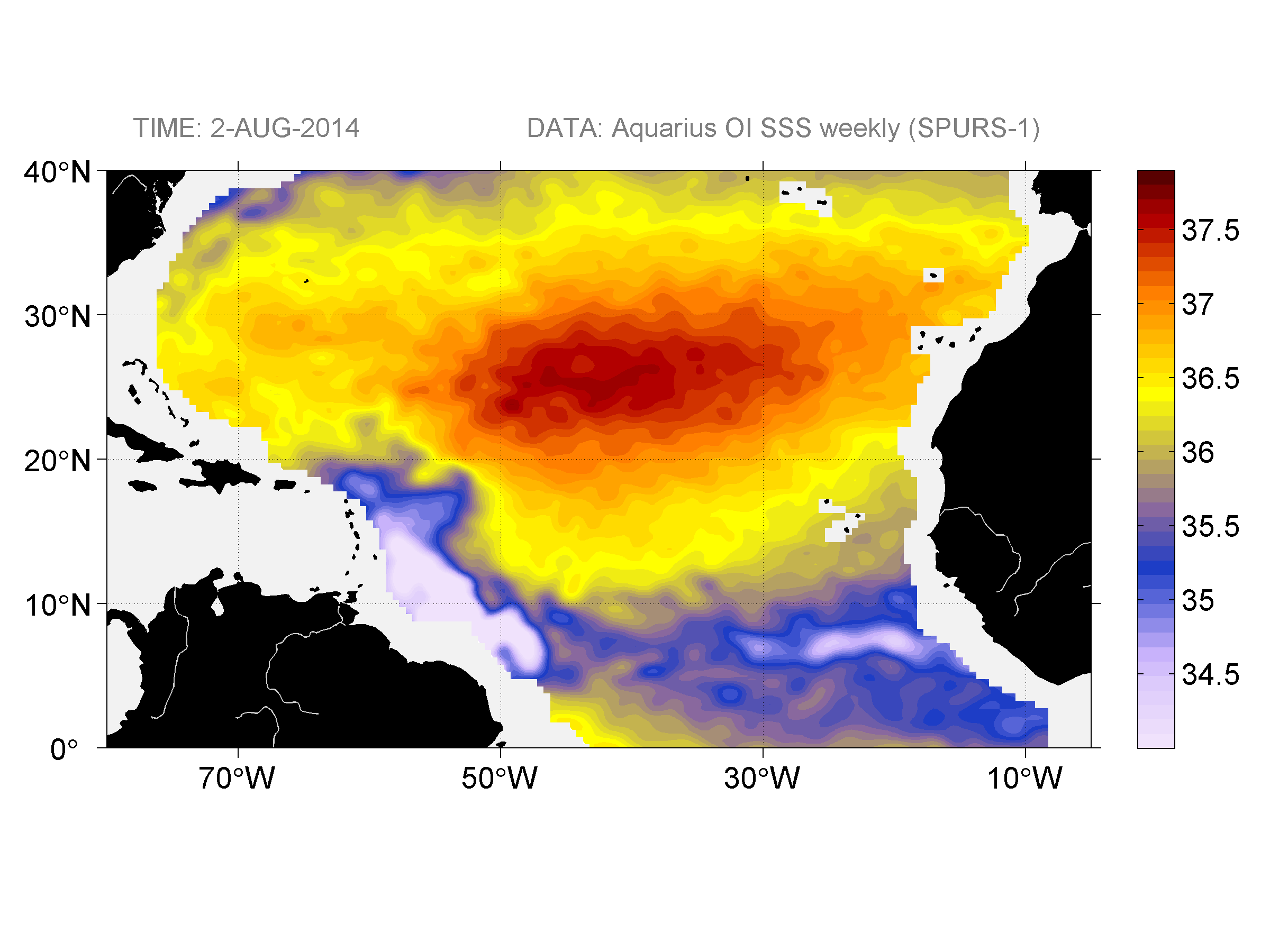 Sea surface salinity, August 2, 2014