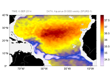 Sea surface salinity, September 6, 2014