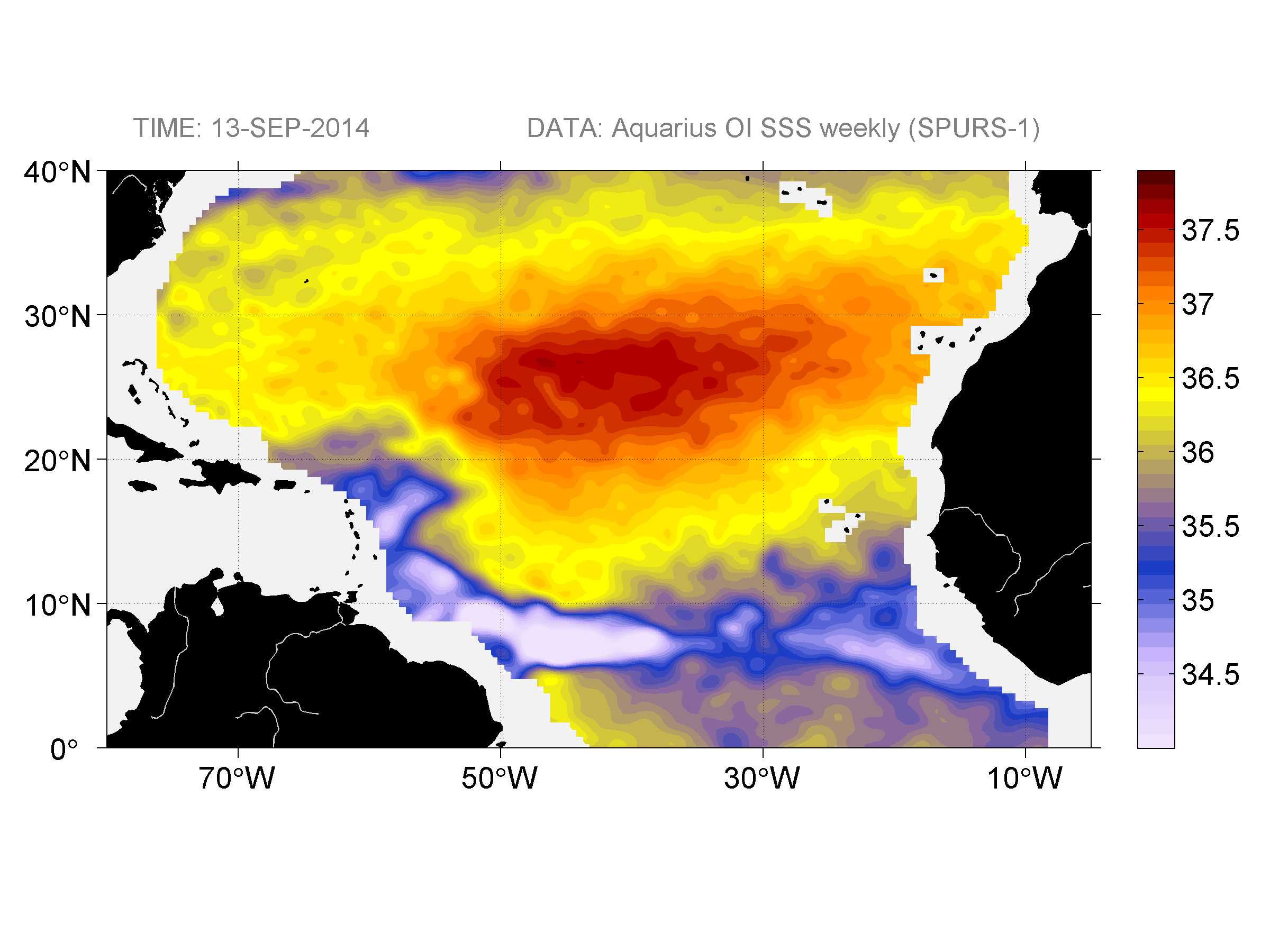 Sea surface salinity, September 13, 2014
