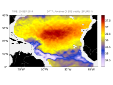 Sea surface salinity, September 20, 2014