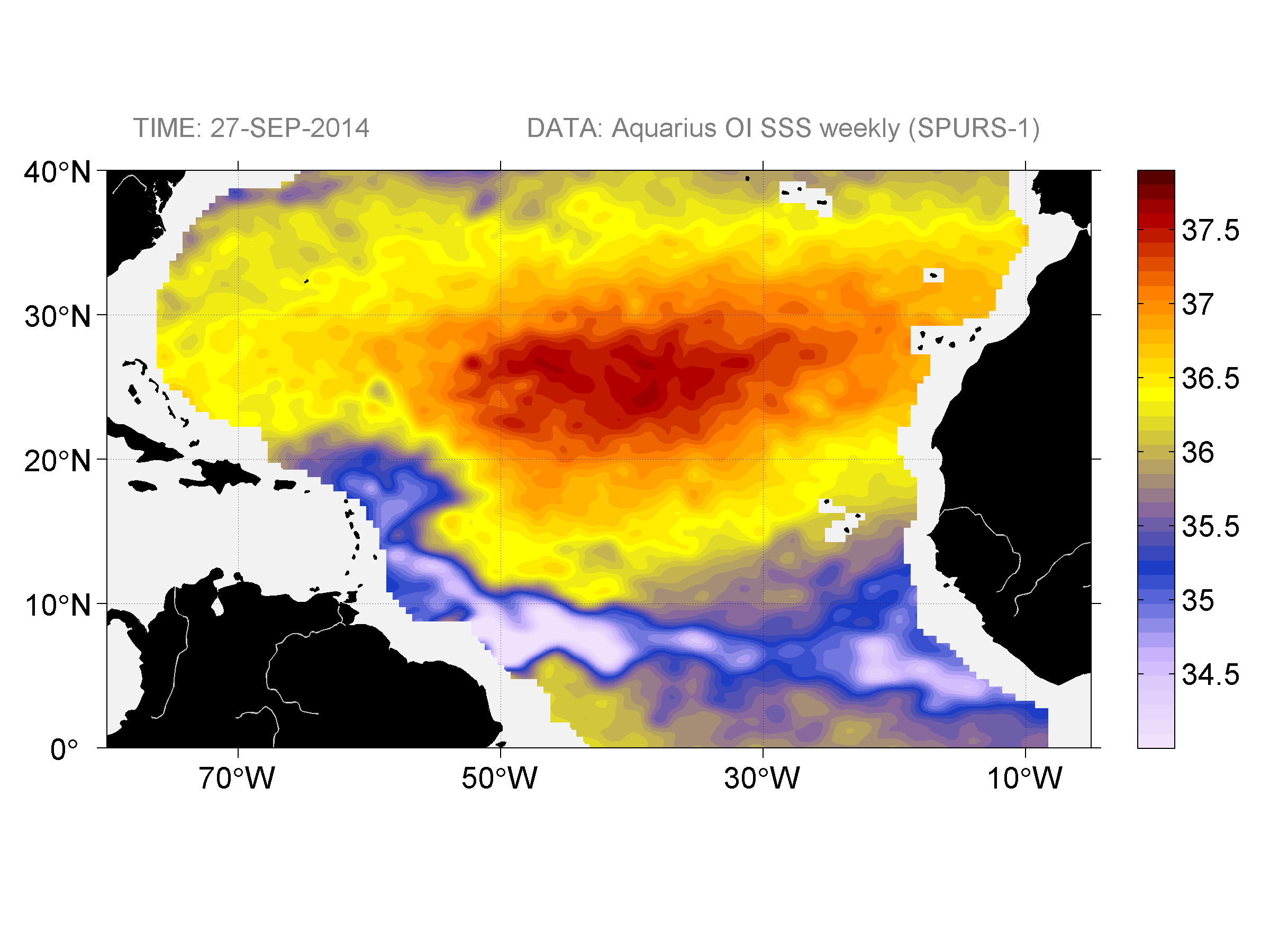 Sea surface salinity, September 27, 2014