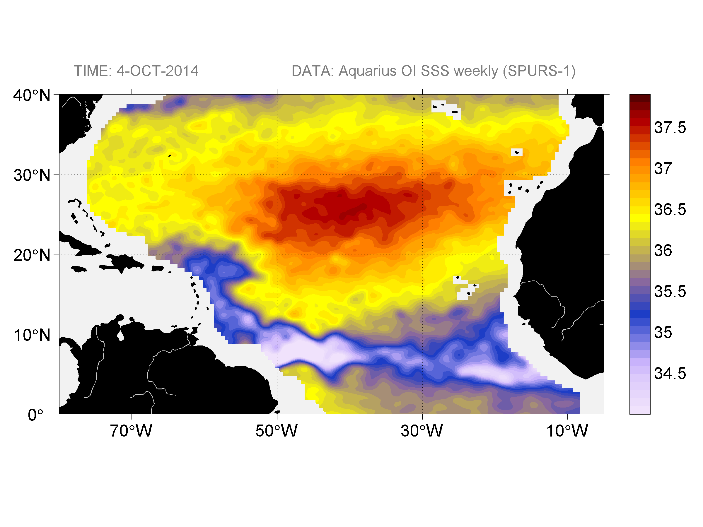 Sea surface salinity, October 4, 2014