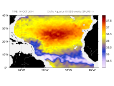 Sea surface salinity, October 18, 2014