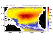 Sea surface salinity, November 8, 2014