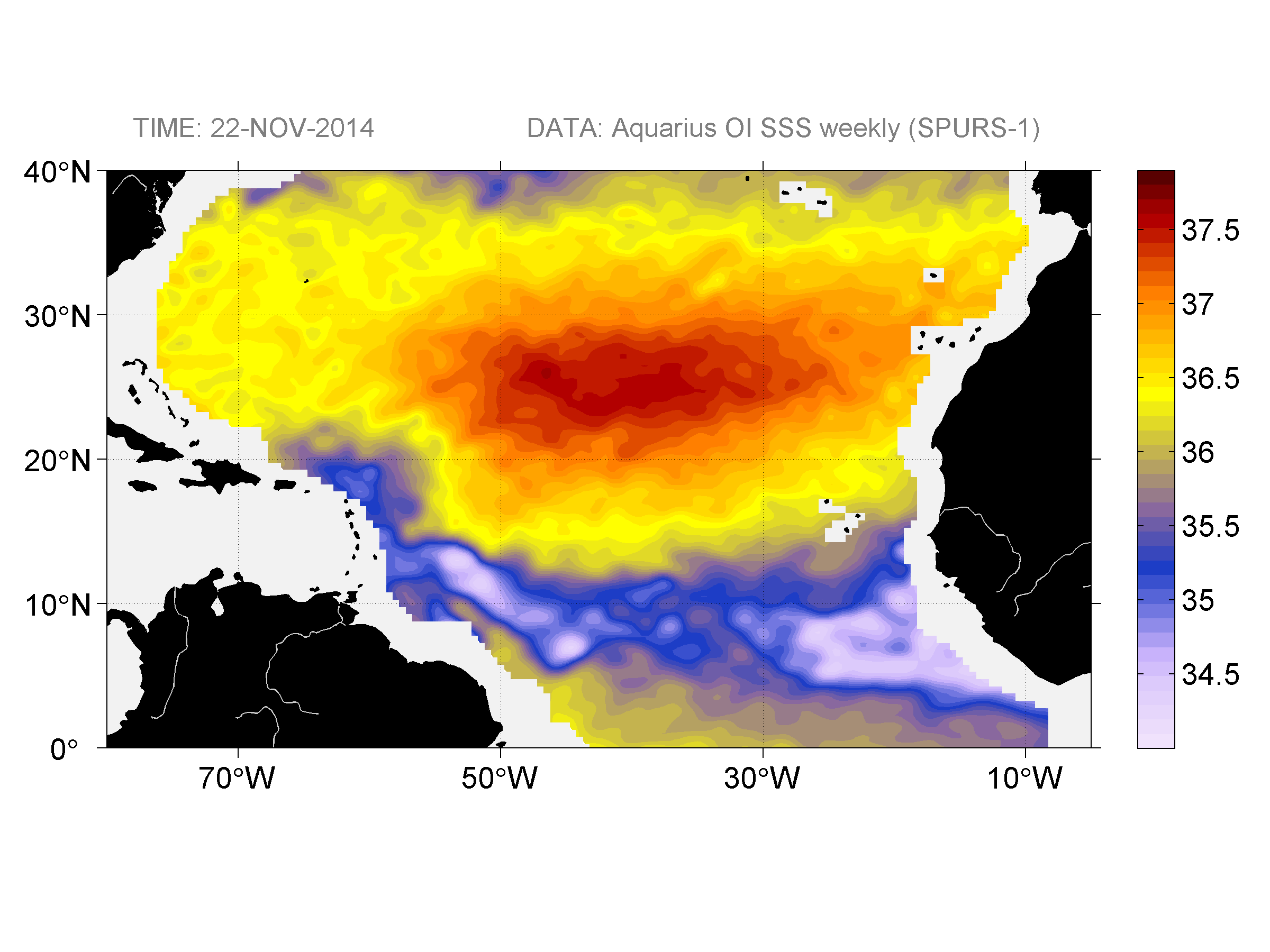 Sea surface salinity, November 22, 2014