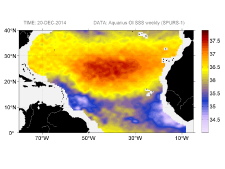 Sea surface salinity, December 20, 2014