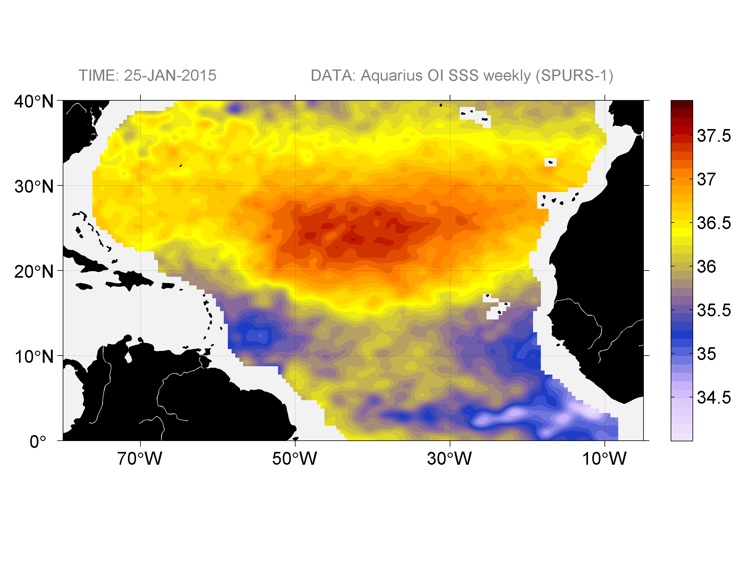 Sea surface salinity, January 25, 2015