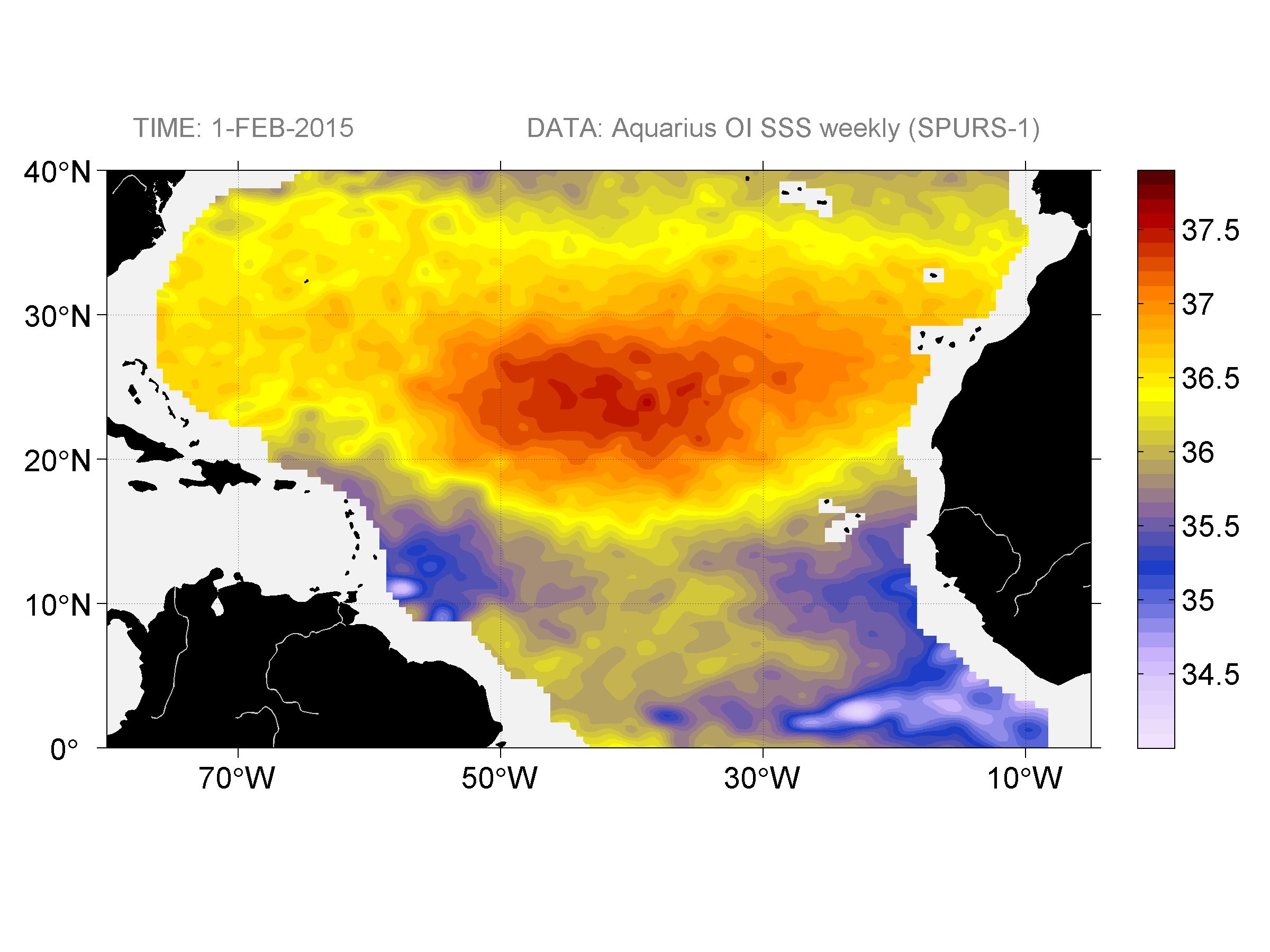 Sea surface salinity, February 1, 2015