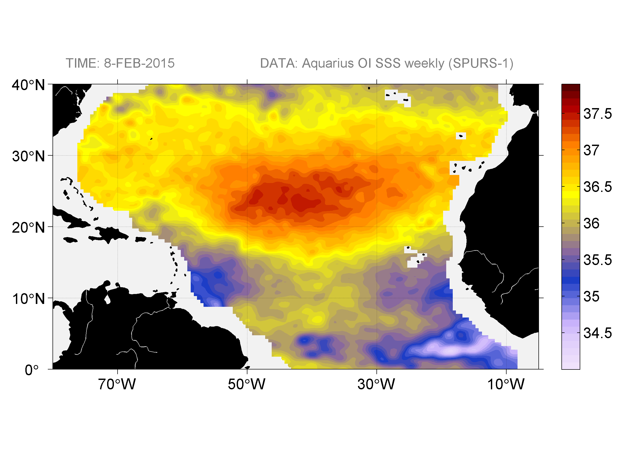 Sea surface salinity, February 8, 2015