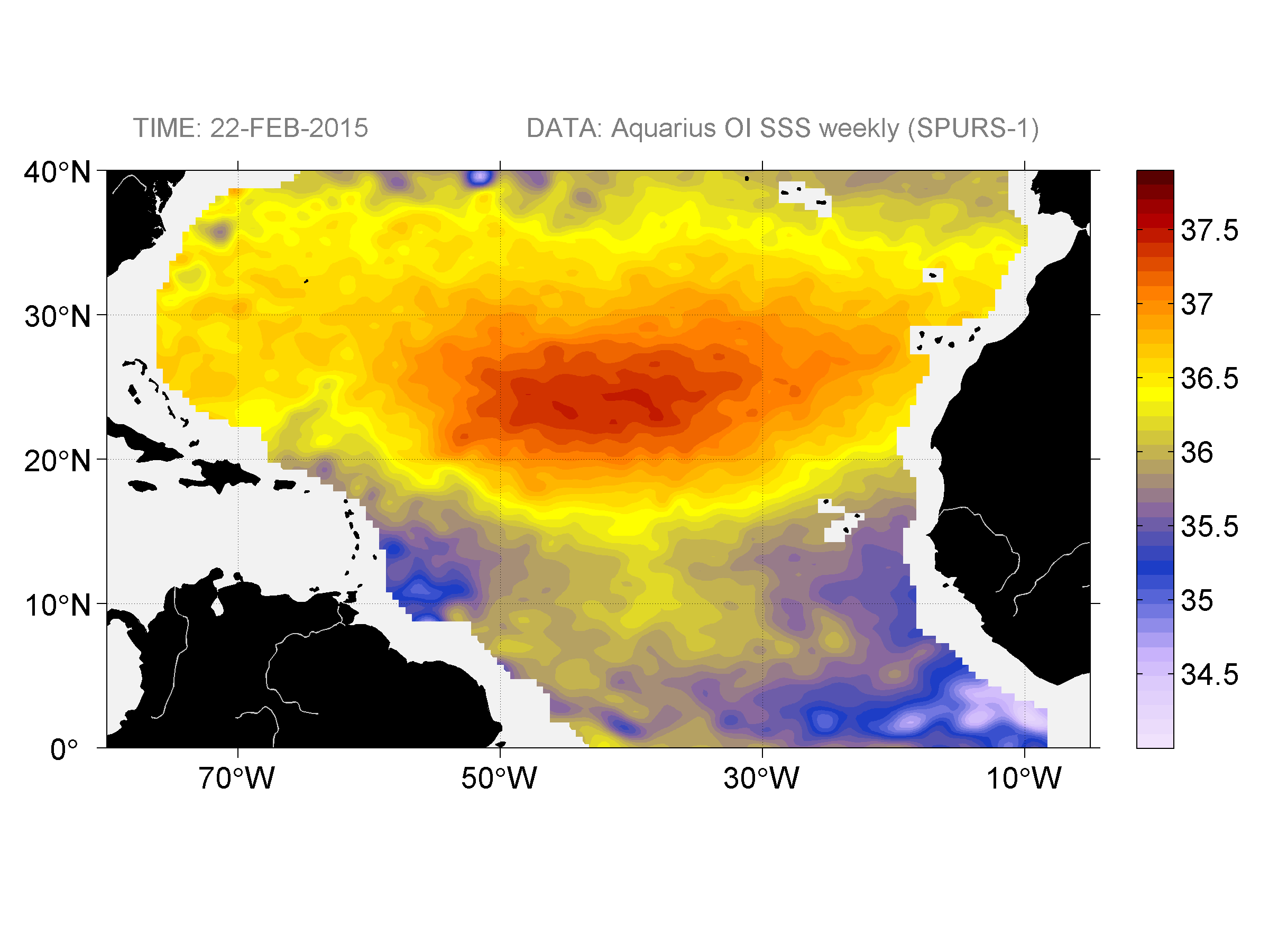 Sea surface salinity, February 22, 2015
