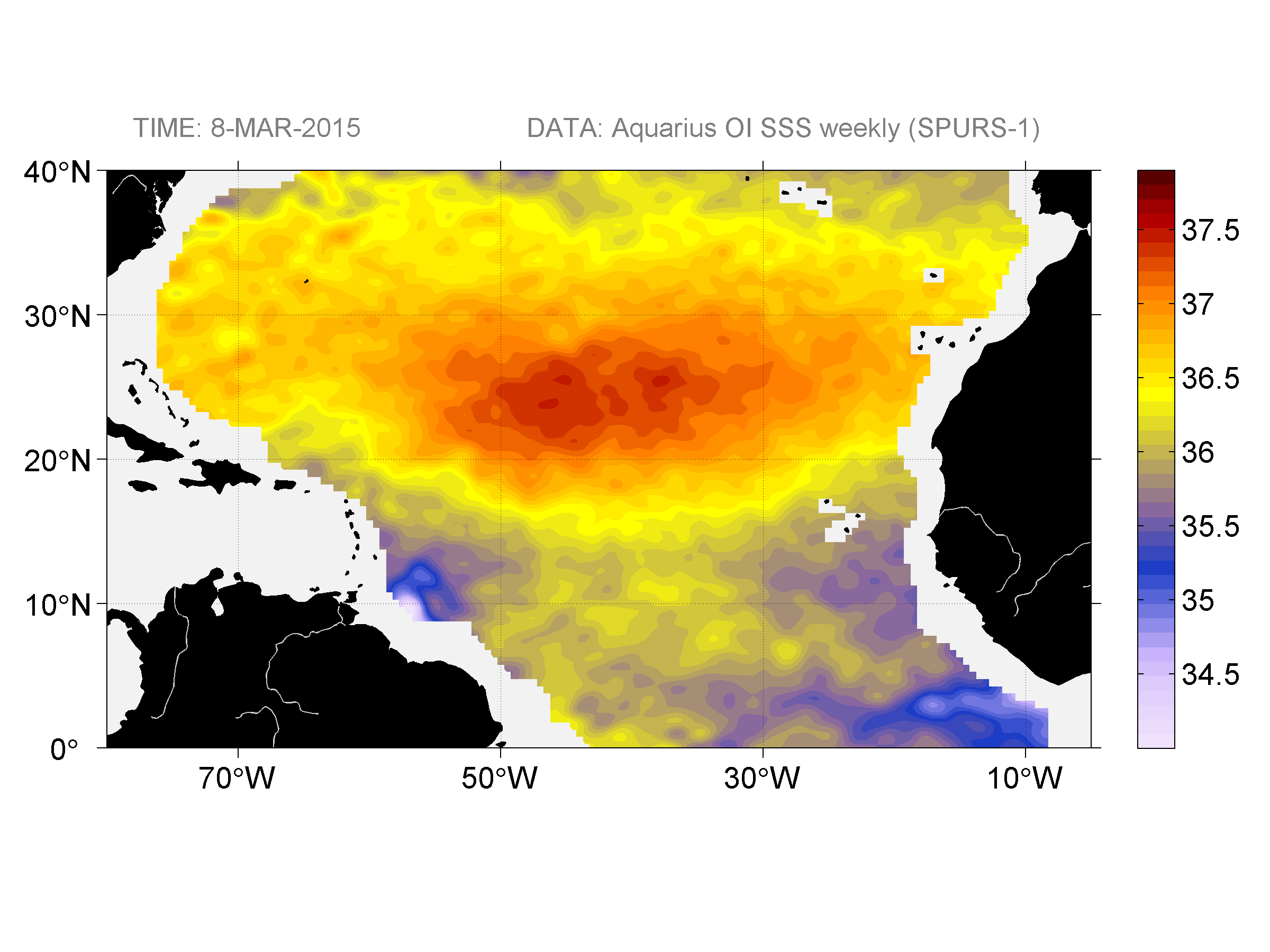 Sea surface salinity, March 8, 2015