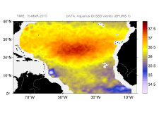 Sea surface salinity, March 15, 2015