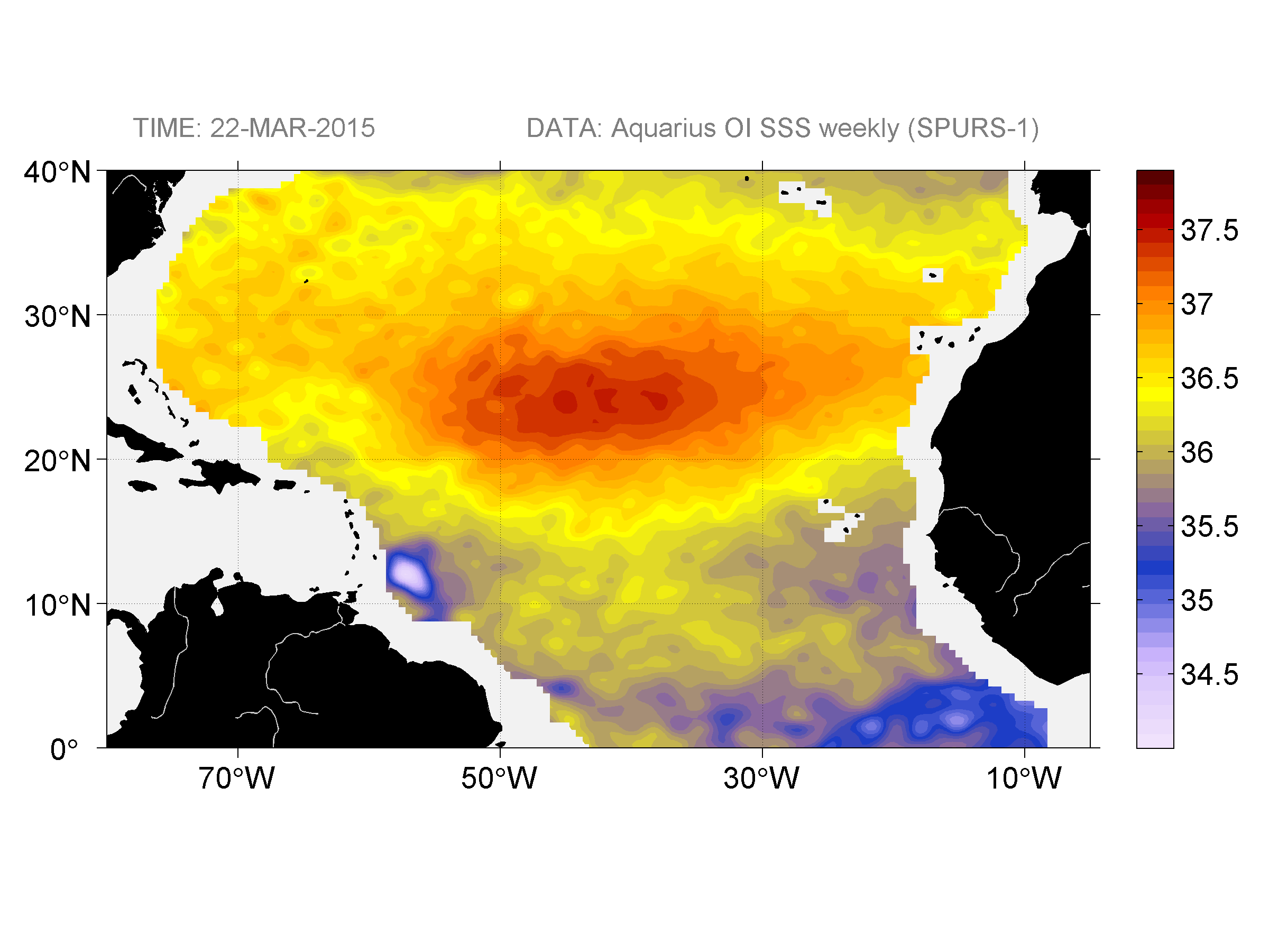 Sea surface salinity, March 22, 2015