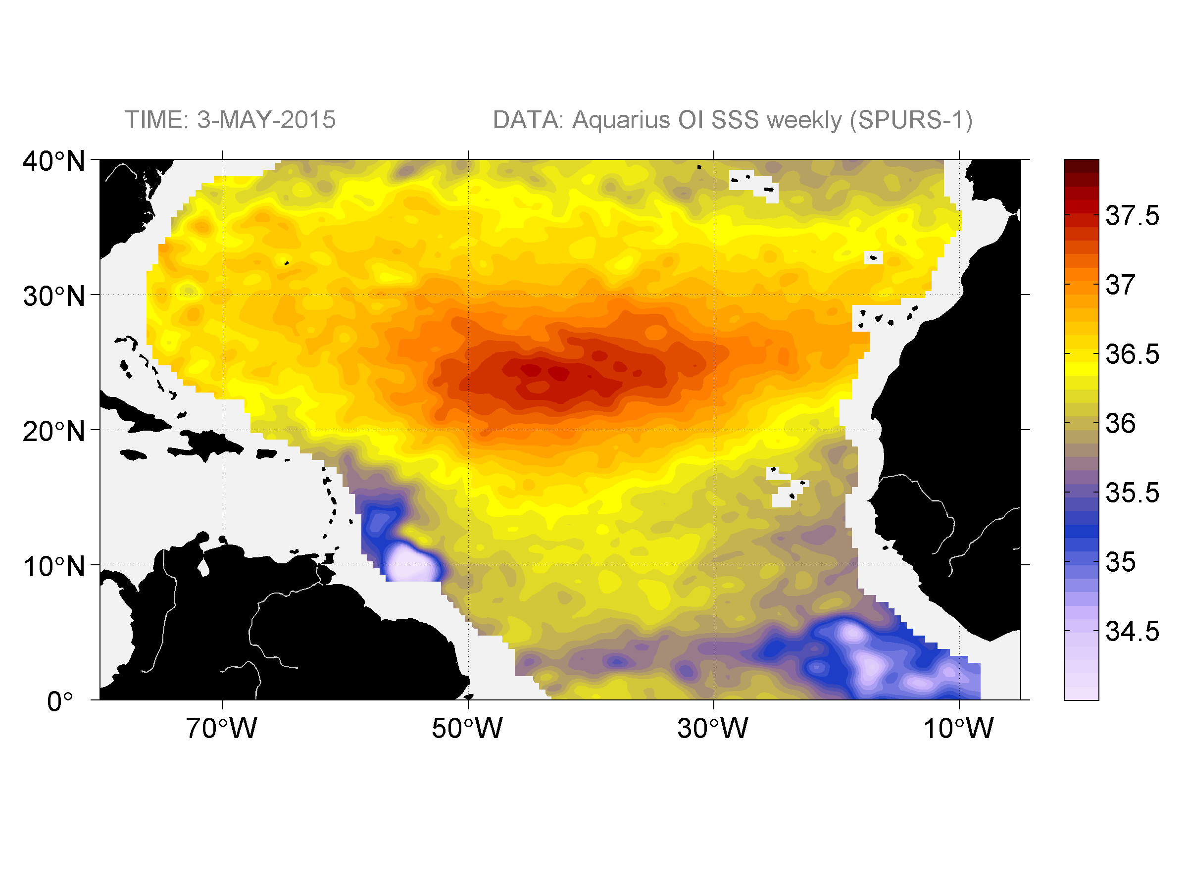 Sea surface salinity, May 3, 2015