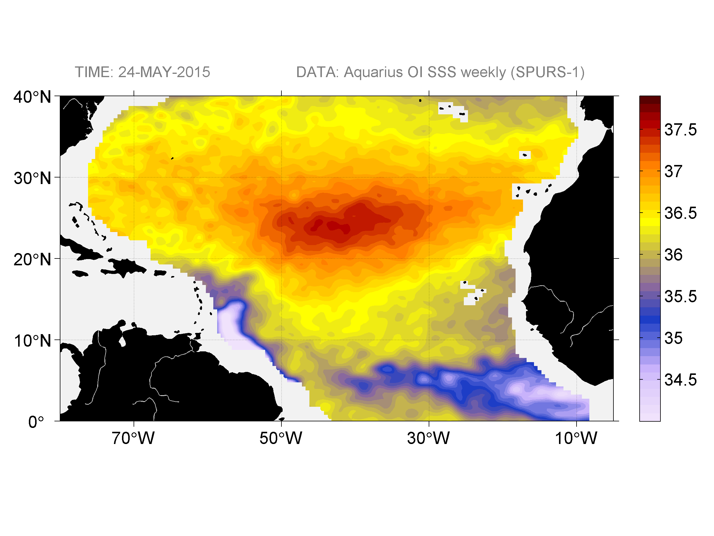 Sea surface salinity, May 24, 2015