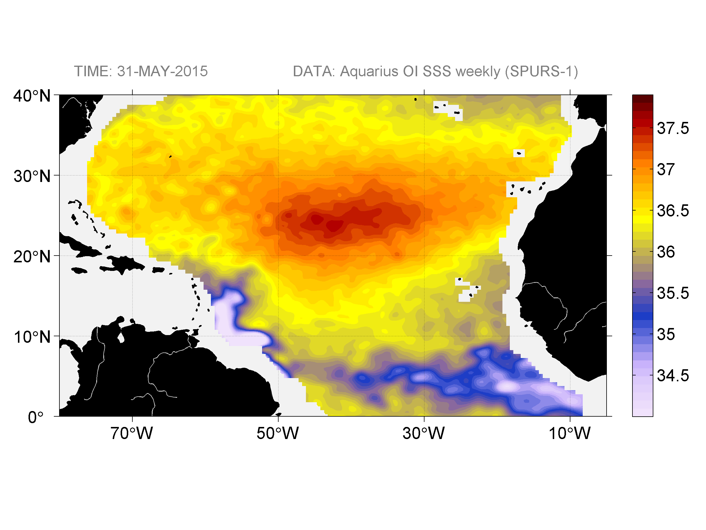 Sea surface salinity, May 31, 2015