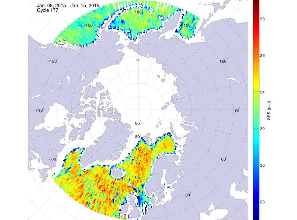 Sea surface salinity, January 8-15, 2015