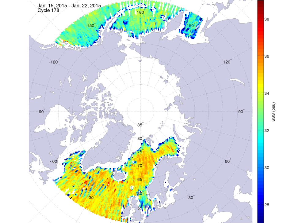 Sea surface salinity, January 15-22, 2015