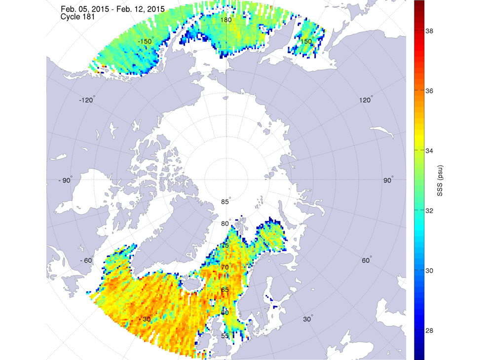 Sea surface salinity, February 5-12, 2015