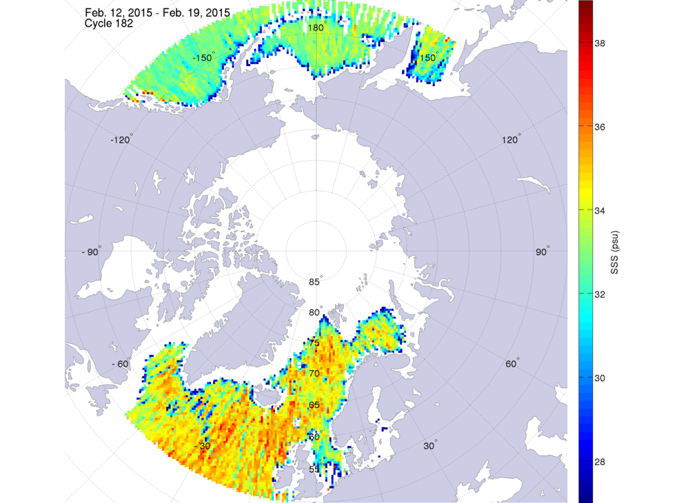 Sea surface salinity, February 12-19, 2015