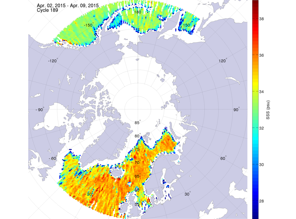 Sea surface salinity, April 2-9, 2015