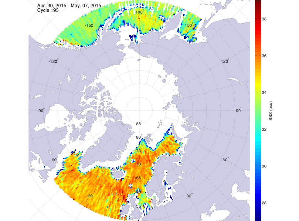 Sea surface salinity, April 30 - May 7, 2015
