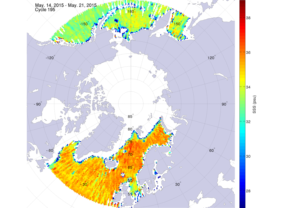 Sea surface salinity, May 14-21, 2015